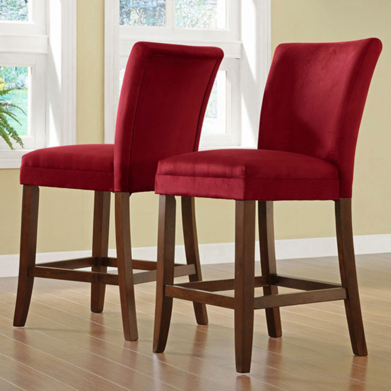 Parson red counter height chair set of 2 design bookmark 8524 - Bar height chair slipcovers ...