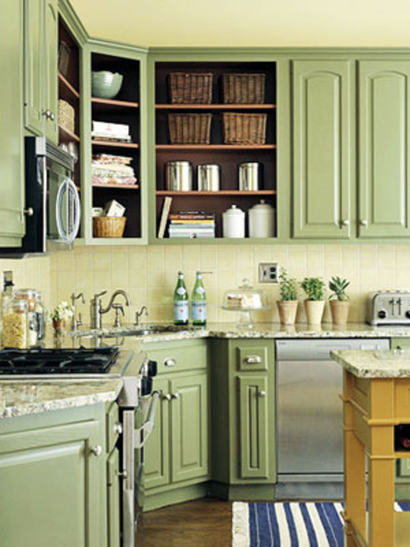 Photos and ideas of green kitchen cabinet design for Green kitchen ideas