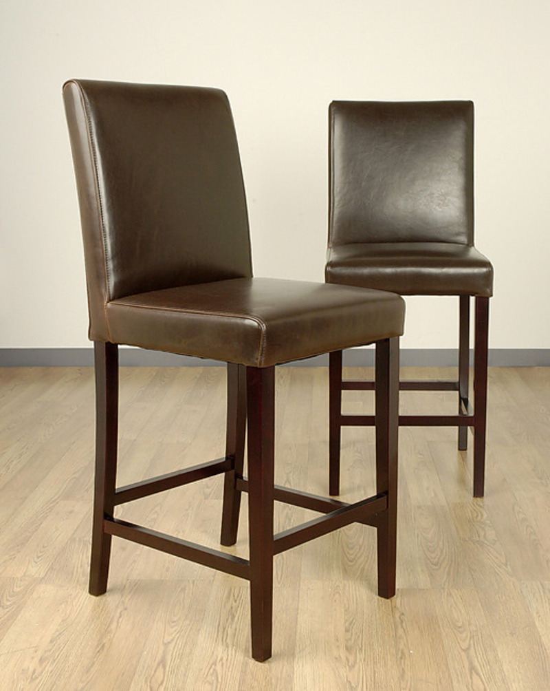 Andre 24 Inch Dark Brown Leather Counter Stools Set Of 2 Design Bookmark 8579