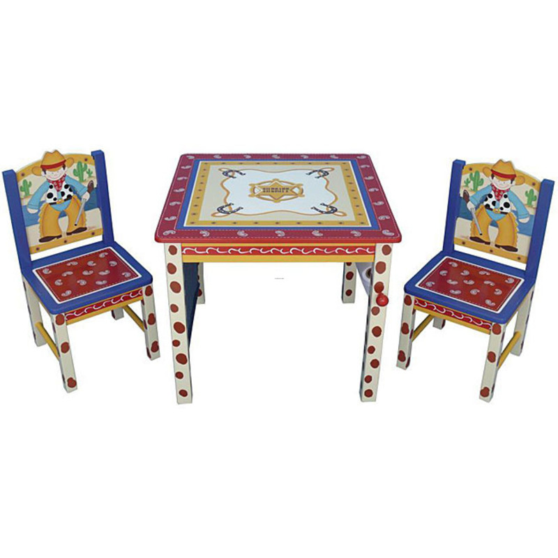 Kids furniture chairs cowboy kids three piece table and chair set
