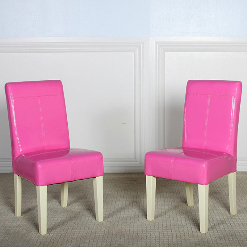Isabella Pink Patent Leather Dining Chair Set 2