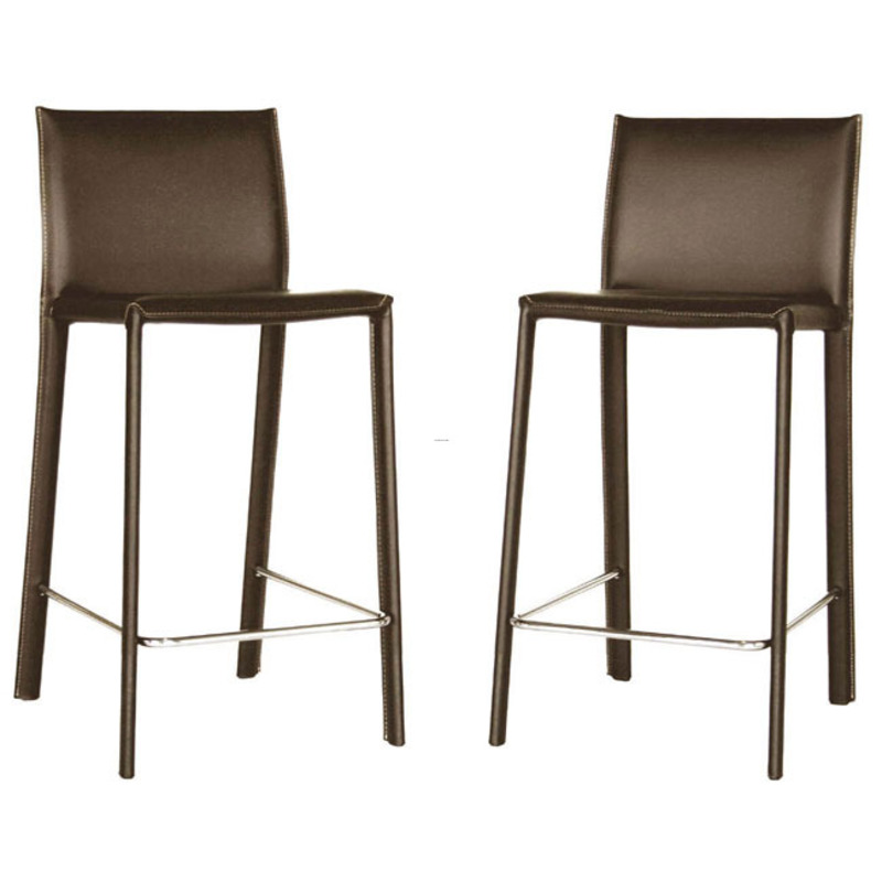 Kazan Brown Leather Counter Stools Set Of 2 Design Bookmark 8628