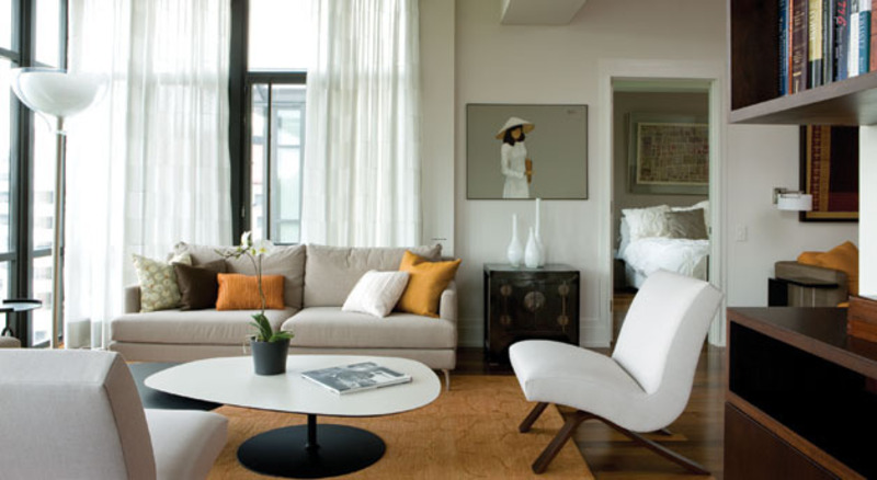 chic and modern condo living room furniture design