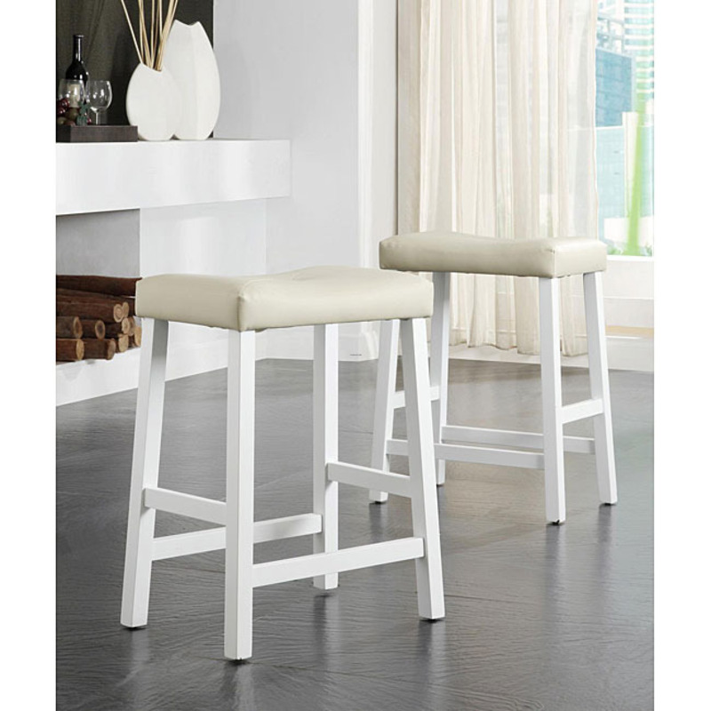 Nova White Saddle Cushioned Seat 24 Inch Barstools Set Of