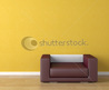 Interior Design Scene Violet Leather Couch On A Yellow Wall Background With Copy Space Stock Photo 36581578 : Shutterstock