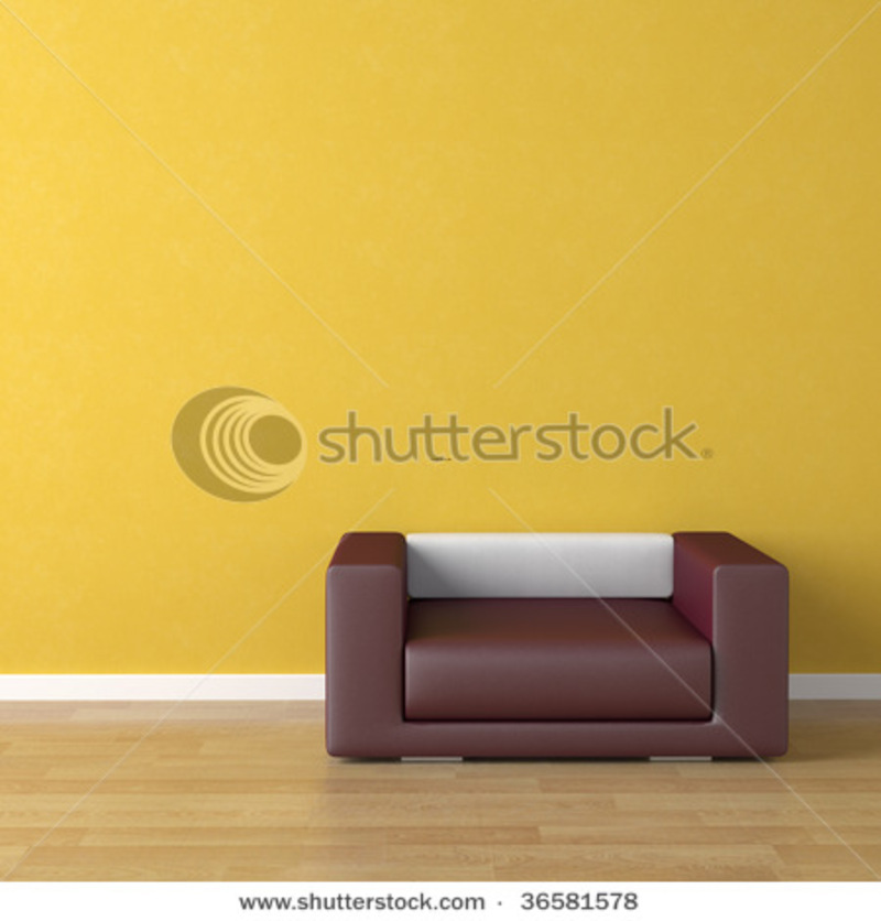 Interior Design Scene Violet Leather Couch On A Yellow Wall ...