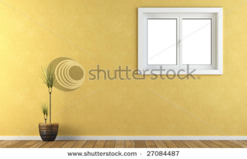 Interior yellow wall with a window stock photo 27084487 - Yellow wall interior design ...
