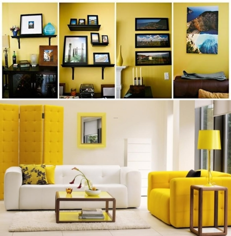 yellow home living room interior design and concept color scheme ideas