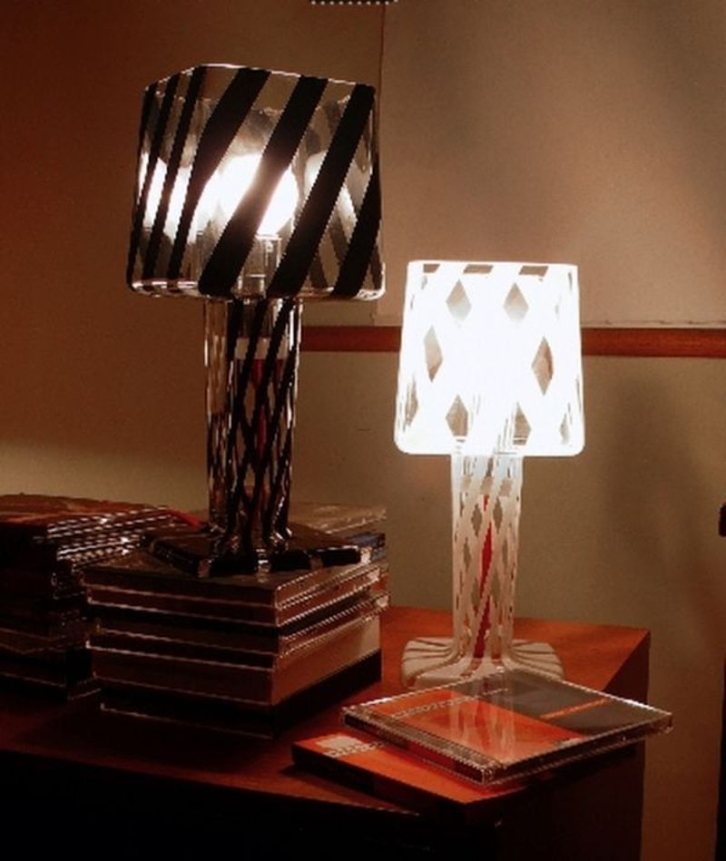 Black And White Contemporary Glass Table Lamps For