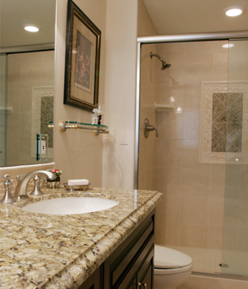 Granite bathroom remodelers design bookmark 8975 for Small bathroom countertop ideas
