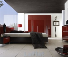 Modern Red, White Black Bedroom Painting