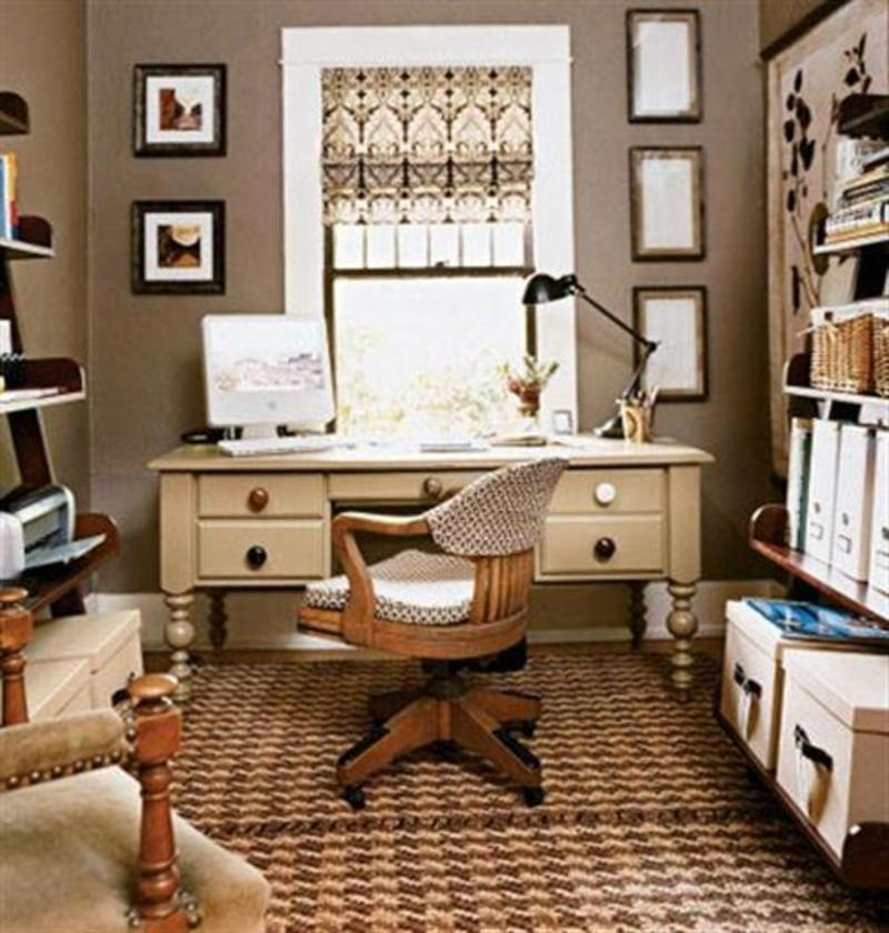 Variety of small home office space design and decorating for Small office interior design ideas pictures