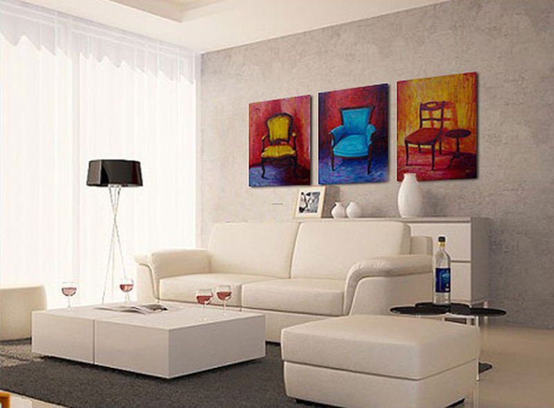 Artistic Living Room Design Ideas With Wall Art Paintings Chair Series