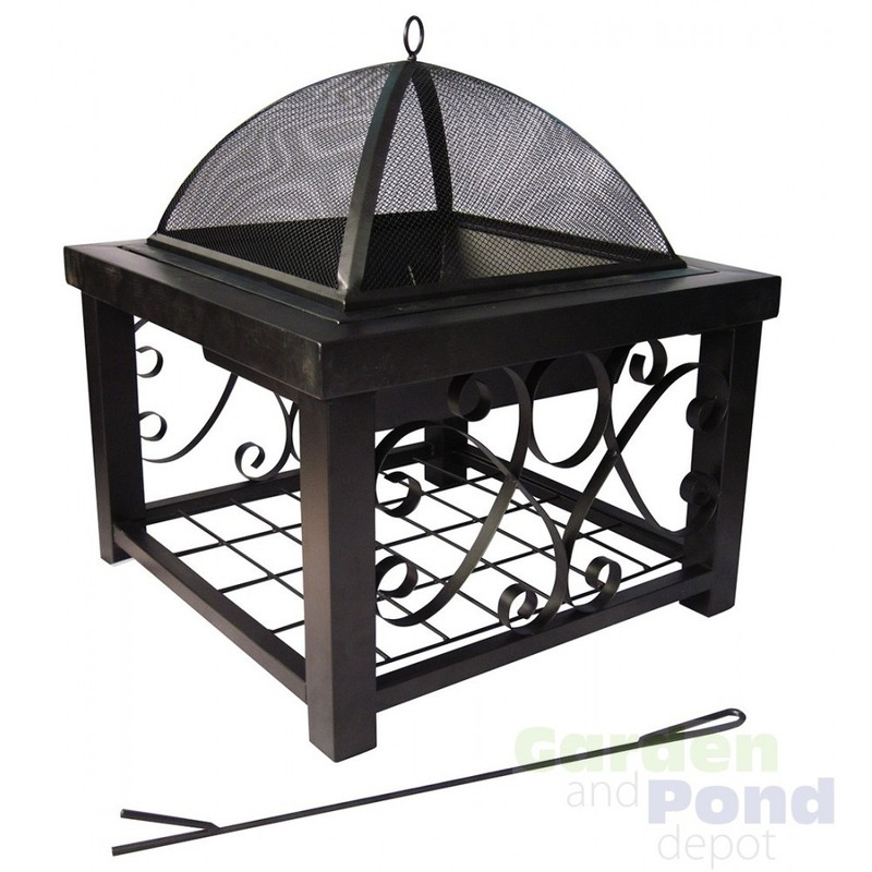 """Small Patio Fireplace, 28"""" Wide Square Steel Outdoor Patio Fireplace"""
