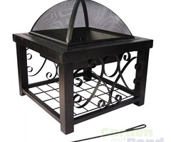 "28"" Wide Square Steel Outdoor Patio Fireplace"