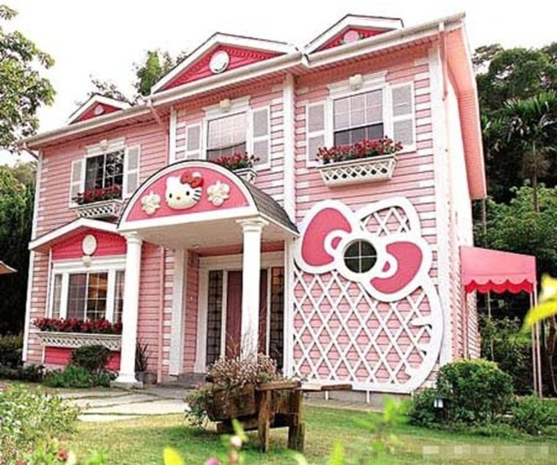 Dream Home Designs: Pink And Sweet Kitty Themed Dream House Design / Design