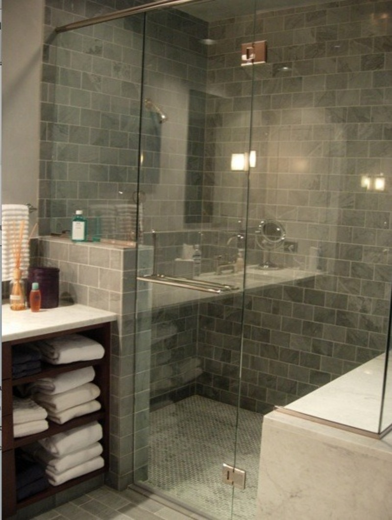 Perfect  Bathroom Design With Light Grey Tile Wall  Bathroom With Glass Ideas
