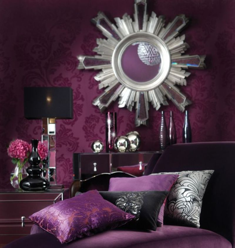 the best luxurious bedroom in purple color wallpaper