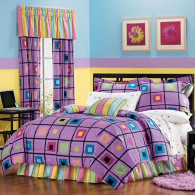 Beautiful Teen Purple Bedroom Ideas With Plaid Bedding And Curtains Design Bookmark 10043