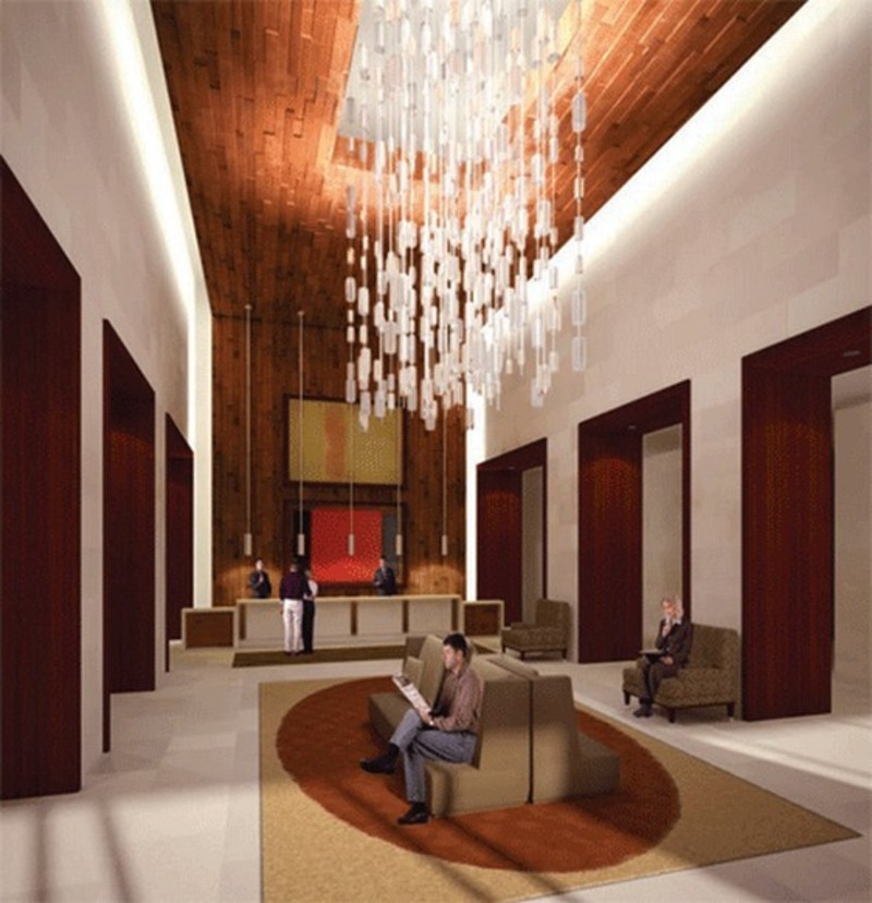 Modern hotel lobby interior design with hanging lamp for Modern hotel design