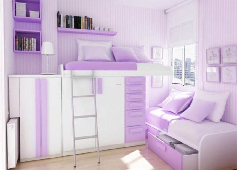 Green And Purple Teenage Girls Bedroom Color Themes Design Bookmark 10095
