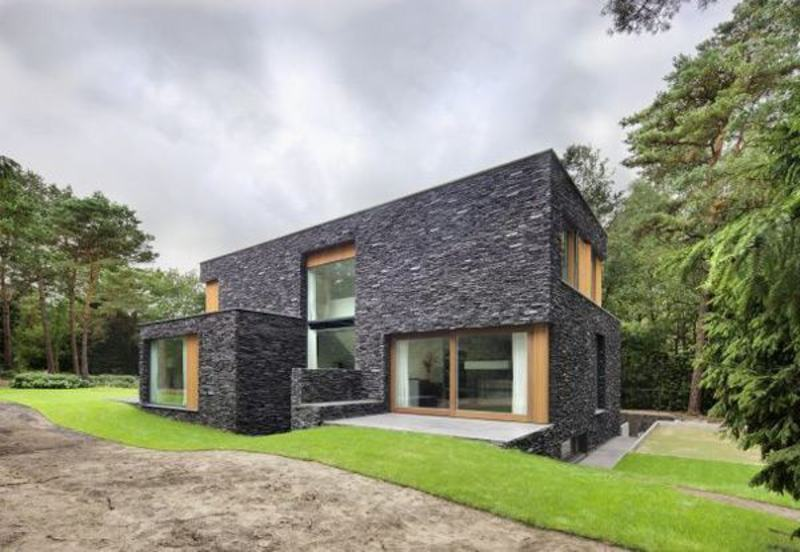 Natural stone house design with modern facade ideas stone for House of granite and marble