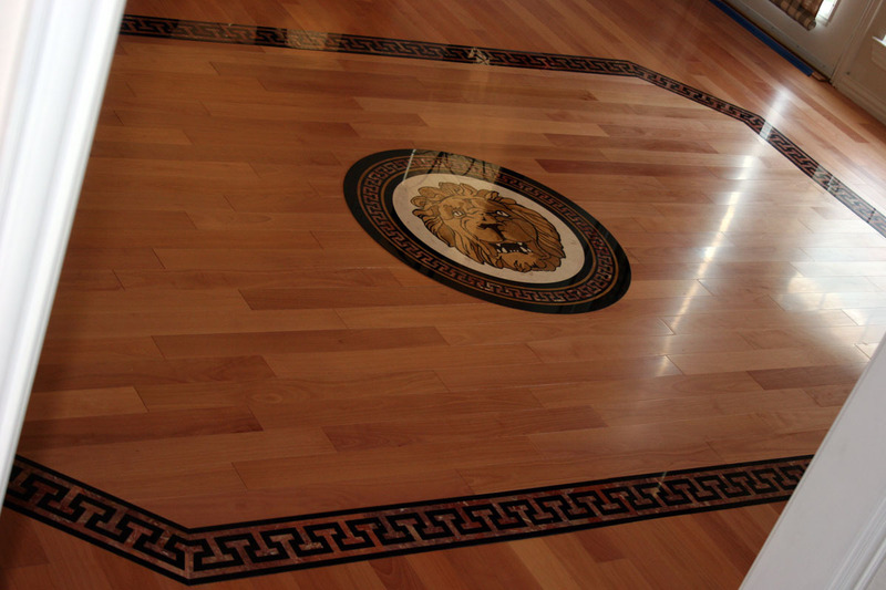 Wood floor medallion and border design ideas design for Hardwood floor designs