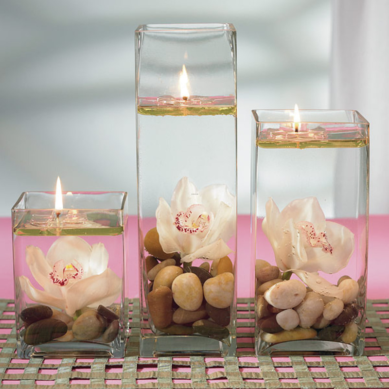 A wonderful idea is to create wedding centerpieces floating candle for your