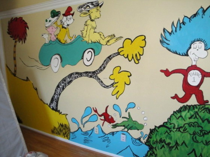 Wall mural from dr seuss nursery for your kids room for Dr seuss wall mural