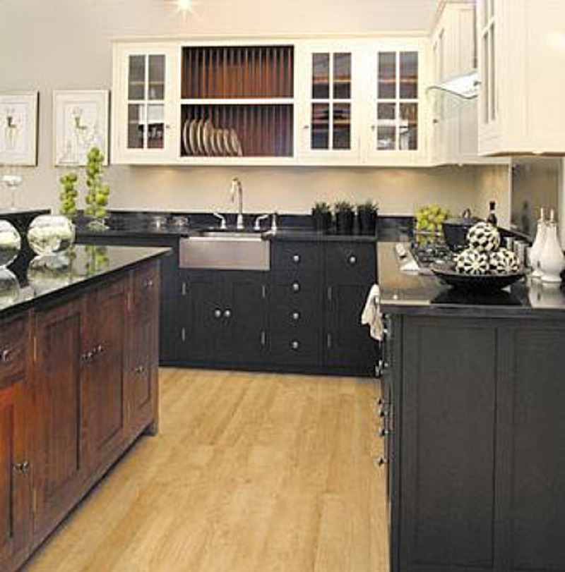 Attic mag blog archive black white and wood kitchen for Black and white painted kitchen cabinets