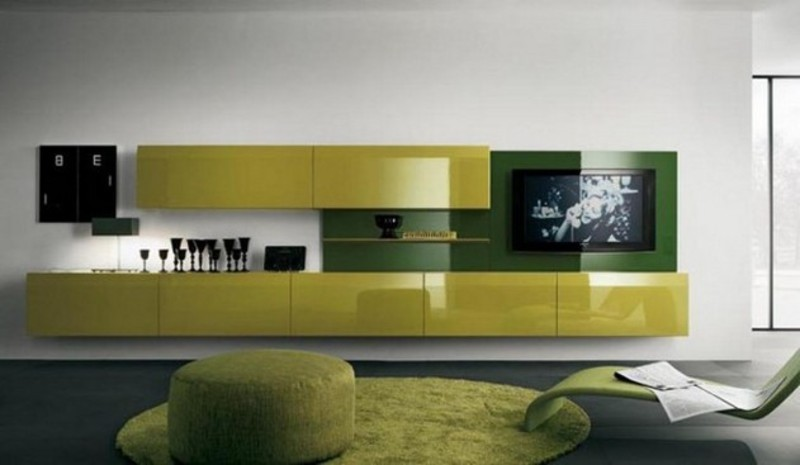 Green tv wall mount idea for modern living room design for Wall mounted tv designs living room