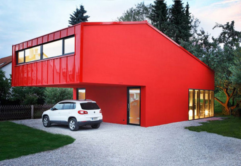 Modern simple red small home architecture for inspiration for Smarter small home