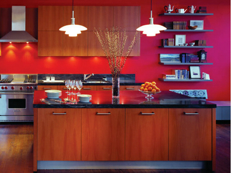 Modern kitchen and interior design with red decorating for Black and red kitchen designs