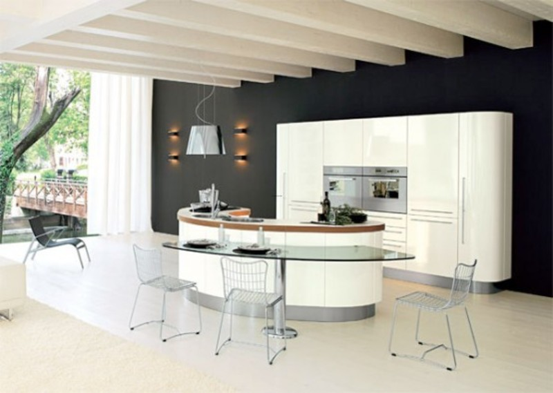 Unique Kitchen Island Ideas, Curved Kichen Island