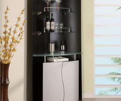 Black And White Ultra Modern Minimalist Corner Home Bar