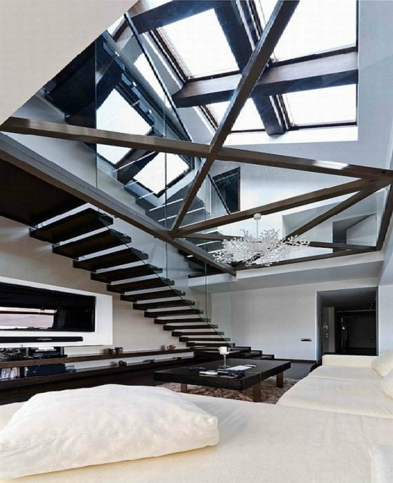 Loft With Glass Design, Modern Loft With Glass Walls And Floor On Amazing And Fantastic Interior Design With Luxurious Apartments