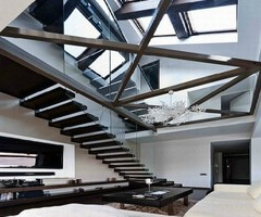 Modern Loft With Glass Walls And Floor On Amazing And Fantastic Interior Design With Luxurious Apartments