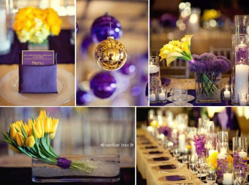 Purple Gold And Yellow Color Combination Idea Wedding