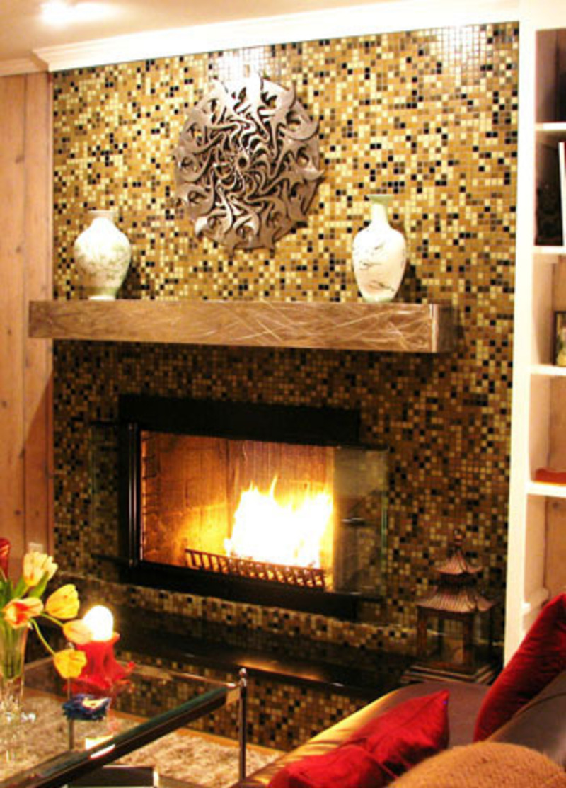 glass tile fireplace designs images