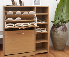 Hokku Designs Shoe Storage Cabinet In Walnut