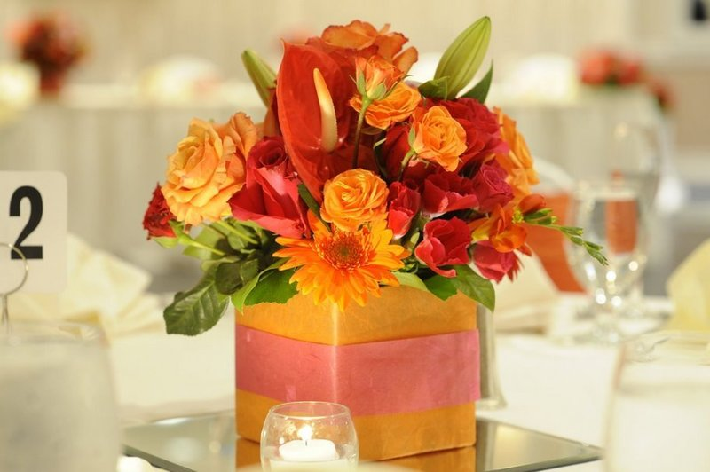 Orange wedding reception ideas indian wedding reception table pictures