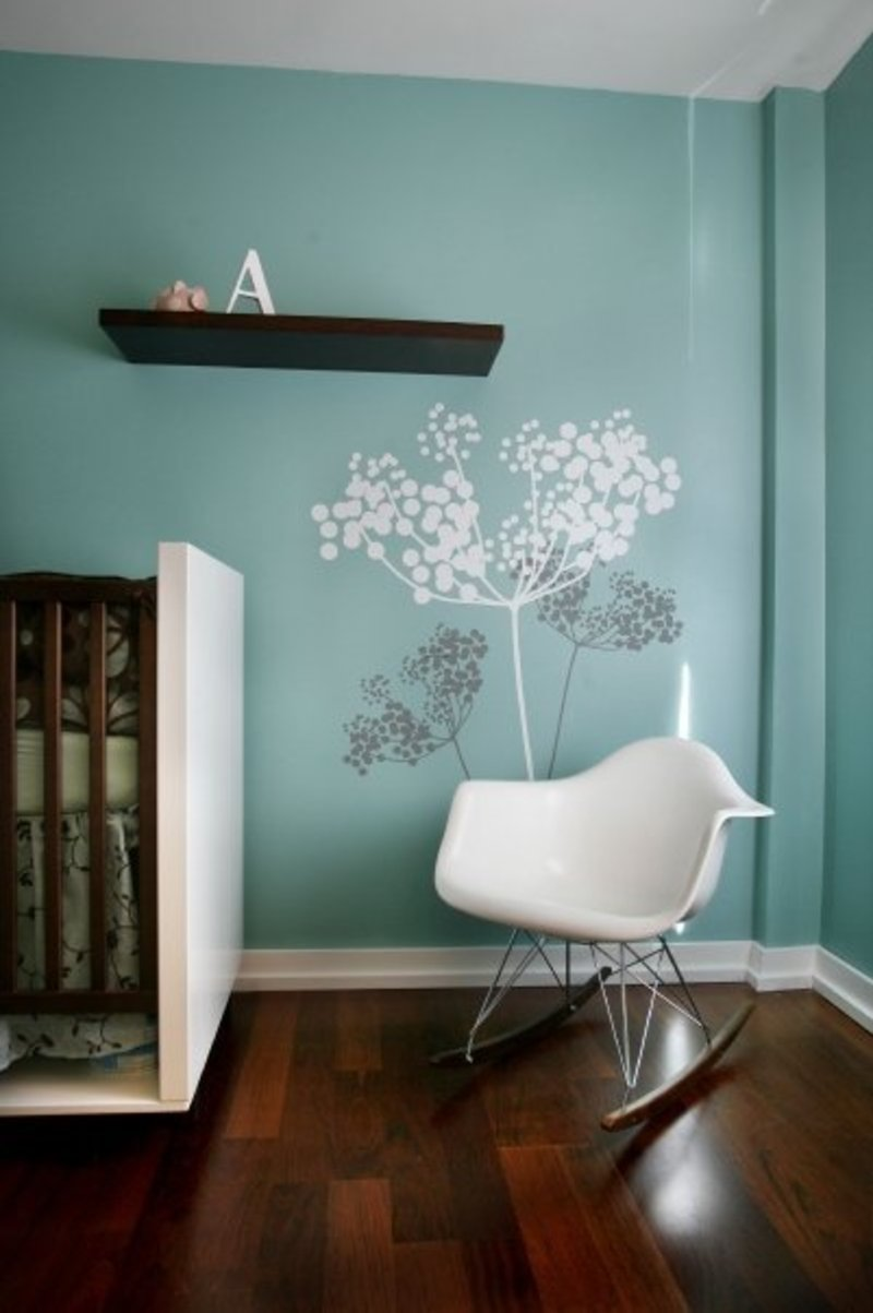 Design Wall Paint Room: Nice Ideas Of Modern Nursery Wall Decals Blue Tree Modern