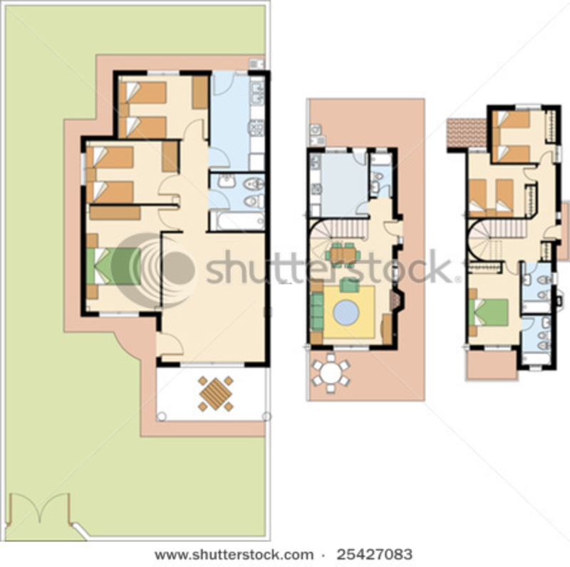 House plan of duplex vector sketch of residential home for Residential house plans
