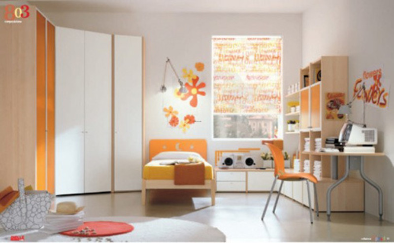 Kids bedroom fitted furniture arrangement design for White and orange bedroom designs