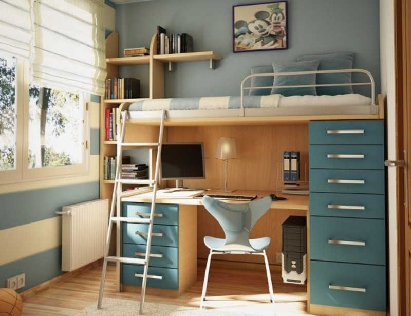 Loft Bed with Desk Ideas for Small Rooms 800 x 615