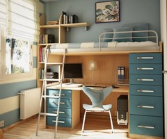 Teenage Bedroom Ideas Featuring Loft Bed With Desk