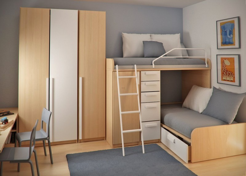 Double Loft Beds And Workspace In Teen Small Bedroom Double Beds For Small  Rooms