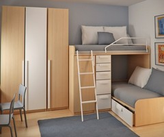 Double Loft Beds And Workspace In Teen Small Bedroom Design Ideas By Sergi Mengot