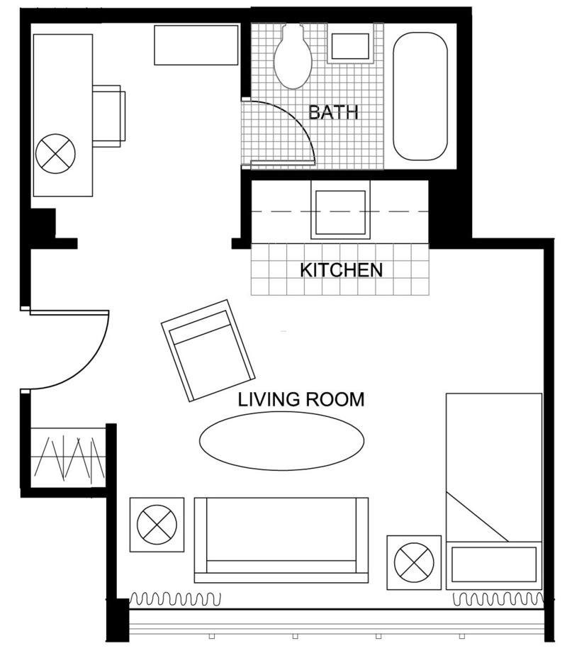 Rooms floor plans seabury graduate housing division of for Studio apartment blueprints