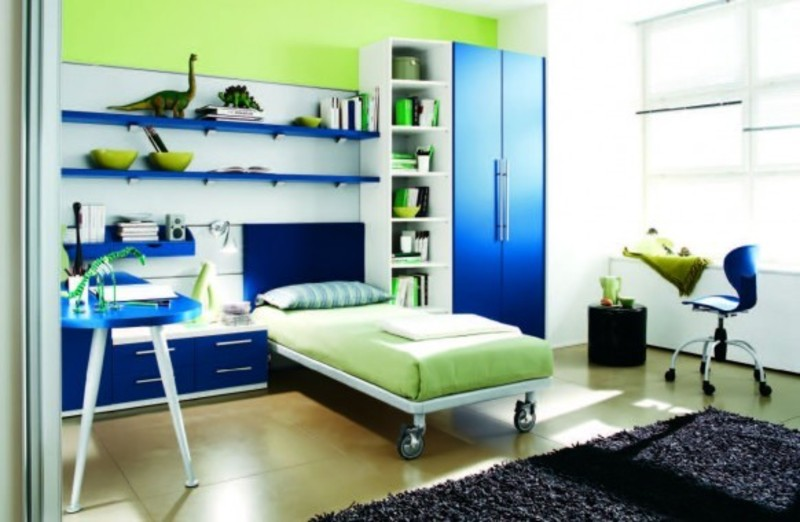 blue green bed on wheels colorful kids room design idea